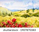 Spring Landscape. Watercolor...
