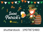 leprechaun with medical mask at ... | Shutterstock .eps vector #1907872483