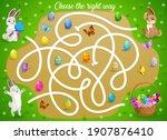 kids maze game help easter... | Shutterstock .eps vector #1907876410