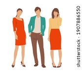 set of young man and women ...   Shutterstock .eps vector #1907886550