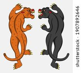 leopard and black panther... | Shutterstock .eps vector #1907892646