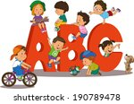illustration of kids playing... | Shutterstock .eps vector #190789478