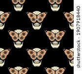 skull and butterfly color... | Shutterstock .eps vector #1907918440