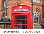 Small photo of Leeds city, UK. Red telephone and Leeds General Infirmary in background.