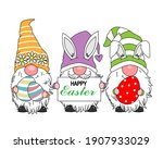 happy easter card. gnomes with... | Shutterstock .eps vector #1907933029