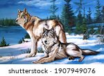 a pair of wolves oil painting   Shutterstock .eps vector #1907949076