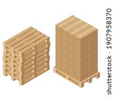 isometric cardboard boxes on...   Shutterstock .eps vector #1907958370