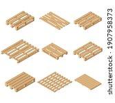 vector wooden isometric pallet. ...   Shutterstock .eps vector #1907958373