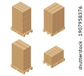 isometric cardboard boxes on...   Shutterstock .eps vector #1907958376