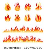 fire flames isolated on white... | Shutterstock . vector #1907967130