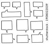 hand drawn speech bubbles set... | Shutterstock .eps vector #1908022039