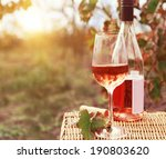 one glass and bottle of the... | Shutterstock . vector #190803620