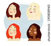 vector girl faces with blonde ... | Shutterstock .eps vector #190808960