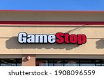 Small photo of Helena, Montana - January 31, 2021: Gamestop logo sign of storefront, in the news stock rise from reddit investments, Wall Street shares soar, business logo sign, company retail store exterior