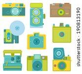 set of flat photo cameras   in... | Shutterstock .eps vector #190813190