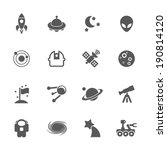 Space icons, vector.