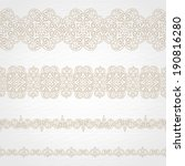 Vector seamless borders in east style. Element for design and ornamental decor. Light lacy background. Ornate floral decor and pattern for wedding invitations and greeting cards.