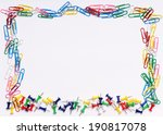 colourful paper clips on white... | Shutterstock . vector #190817078