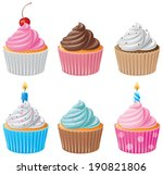 six delicious cupcakes | Shutterstock .eps vector #190821806