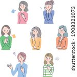 a set of seven young women in... | Shutterstock .eps vector #1908321073
