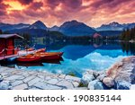 peaceful mountain lake in... | Shutterstock . vector #190835144