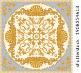 bandana print on a beige and...   Shutterstock .eps vector #1908354613