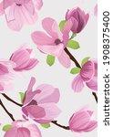 seamless pattern of magnolia... | Shutterstock .eps vector #1908375400