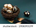 Gold  Black  White Eggs On A...