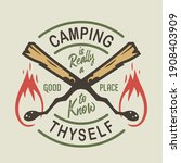 camp burning match with flame...   Shutterstock .eps vector #1908403909