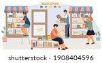 book shop flat composition four ... | Shutterstock .eps vector #1908404596
