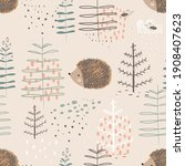 forest seamless pattern with... | Shutterstock .eps vector #1908407623