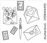 set letter. a message in an...   Shutterstock .eps vector #1908444490