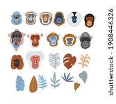 cute vector primates in flat... | Shutterstock .eps vector #1908446326