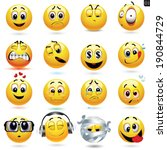 vector set of smiley icons with ... | Shutterstock .eps vector #190844729