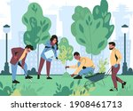 young people are planting trees ...   Shutterstock .eps vector #1908461713