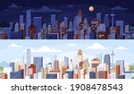 cityscape at day and night time.... | Shutterstock .eps vector #1908478543