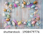 Banner. Easter Frame With Eggs...