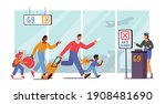 family with children late for...   Shutterstock .eps vector #1908481690