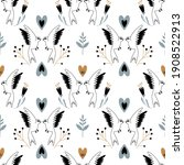 seamless pattern with cute bird ... | Shutterstock .eps vector #1908522913