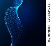 wave shape array glowing dots... | Shutterstock .eps vector #1908524266