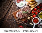 Delicious Beef Steak On Wooden...