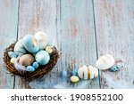 Easter Eggs  Feathers In A Nest ...