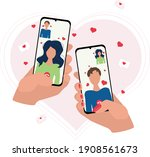 online date. hand holds a phone ...   Shutterstock .eps vector #1908561673