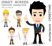 smart worker cartoon character...