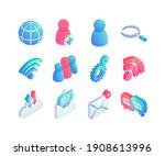 isometric network flat icons... | Shutterstock .eps vector #1908613996