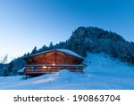 hut in snowy landscape at... | Shutterstock . vector #190863704