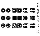 on and off button icon set...