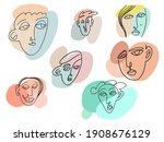 face line art. one line man and ...   Shutterstock .eps vector #1908676129