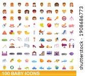 100 Baby Icons  Set. Cartoon...