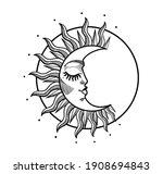 boho illustration  stylized... | Shutterstock .eps vector #1908694843